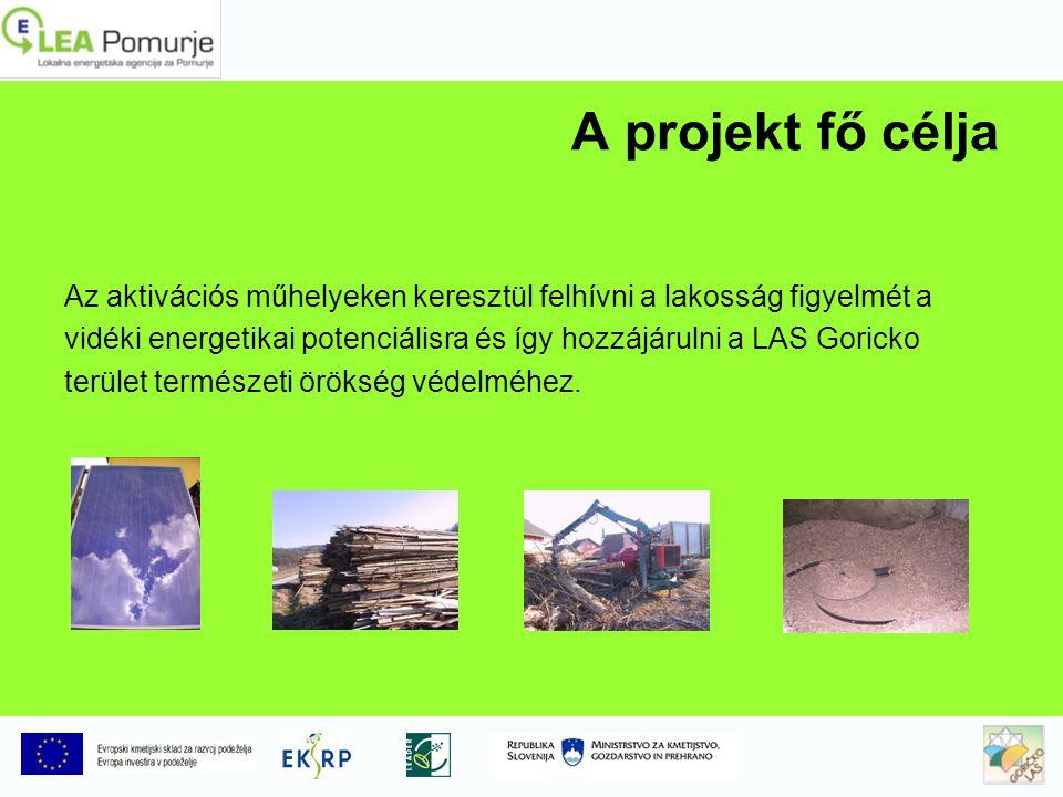 A projekt fő célja Az aktivációs műhelyeken keresztül felhívni a lakosság figyelmét a vidéki energetikai potenciálisra és így hozzájárulni a LAS Goricko terület természeti örökség védelméhez.