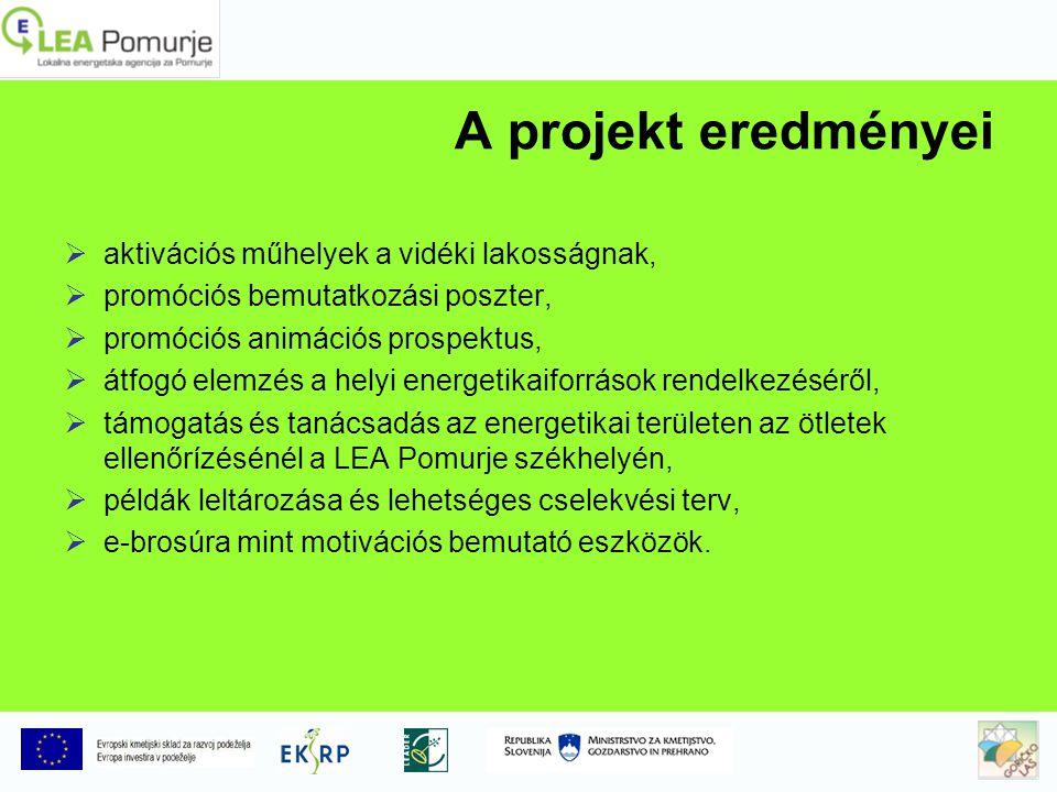 A projekt eredményei  aktivációs műhelyek a vidéki lakosságnak,  promóciós bemutatkozási poszter,  promóciós animációs prospektus,  átfogó elemzés a helyi energetikaiforrások rendelkezéséről,  támogatás és tanácsadás az energetikai területen az ötletek ellenőrízésénél a LEA Pomurje székhelyén,  példák leltározása és lehetséges cselekvési terv,  e-brosúra mint motivációs bemutató eszközök.