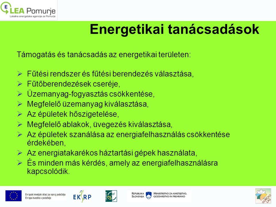 Energetikai tanácsadások Támogatás és tanácsadás az energetikai területen: FFűtési rendszer és fűtési berendezés választása, FFűtőberendezések cseréje, ÜÜzemanyag-fogyasztás csökkentése, MMegfelelő üzemanyag kiválasztása, AAz épületek hőszigetelése, MMegfelelő ablakok, üvegezés kiválasztása, AAz épületek szanálása az energiafelhasználás csökkentése érdekében, AAz energiatakarékos háztartási gépek használata, ÉÉs minden más kérdés, amely az energiafelhasználásra kapcsolódik.
