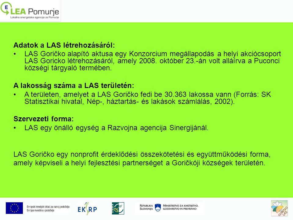 Adatok a LAS létrehozásáról: LAS Goričko alapító aktusa egy Konzorcium megállapodás a helyi akciócsoport LAS Goricko létrehozásáról, amely 2008.