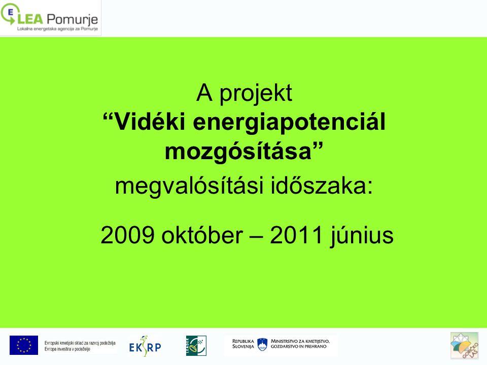 A projekt Vidéki energiapotenciál mozgósítása megvalósítási időszaka: 2009 október – 2011 június