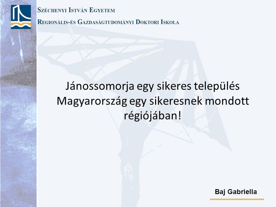 Jánossomorja egy sikeres település Magyarország egy sikeresnek mondott régiójában! Baj Gabriella