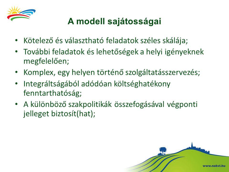 A modell sajátosságai Kötelező és választható feladatok széles skálája; További feladatok és lehetőségek a helyi igényeknek megfelelően; Komplex, egy helyen történő szolgáltatásszervezés; Integráltságából adódóan költséghatékony fenntarthatóság; A különböző szakpolitikák összefogásával végponti jelleget biztosít(hat);