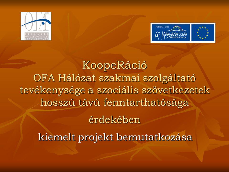 KoopeRáció OFA Hálózat szakmai szolgáltató tevékenysége a szociális szövetkezetek hosszú távú fenntarthatósága érdekében kiemelt projekt bemutatkozása