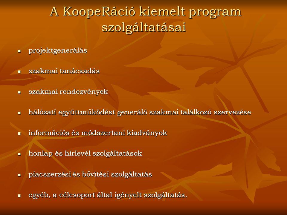 A KoopeRáció kiemelt program szolgáltatásai A KoopeRáció kiemelt program szolgáltatásai projektgenerálás projektgenerálás szakmai tanácsadás szakmai t