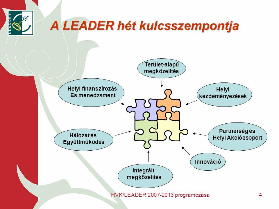HVK/LEADER 2007-2013 programozása4 A LEADER hét kulcsszempontja Terület-alapú megközelítés Helyi kezdeményezések Partnerség és Helyi Akciócsoport Innováció Integrált megközelítés Hálózat és Együttműködés Helyi finanszírozás És menedzsment