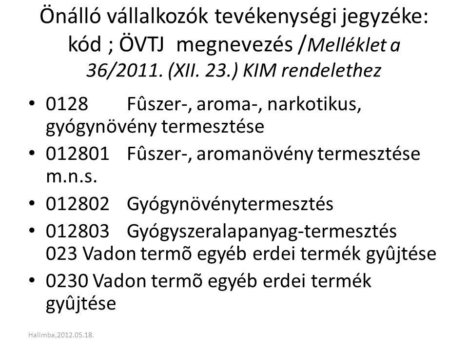 Önálló vállalkozók tevékenységi jegyzéke: kód ; ÖVTJ megnevezés / Melléklet a 36/2011. (XII. 23.) KIM rendelethez 0128 Fûszer-, aroma-, narkotikus, gy