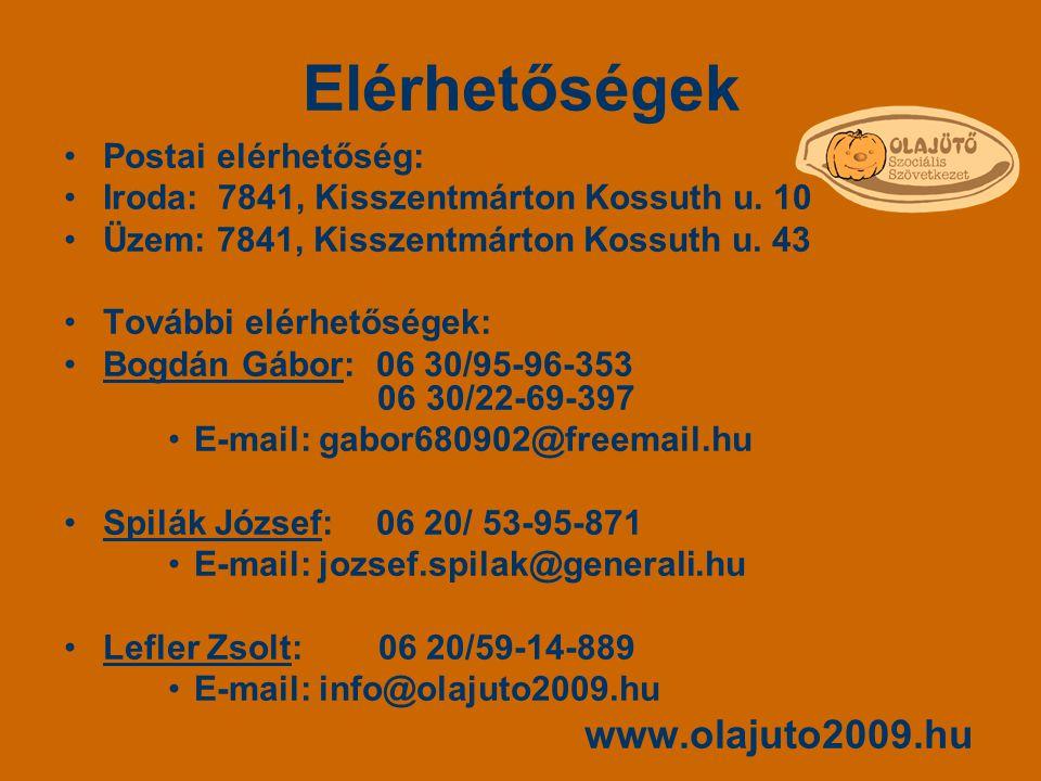 Elérhetőségek Postai elérhetőség: Iroda: 7841, Kisszentmárton Kossuth u. 10 Üzem: 7841, Kisszentmárton Kossuth u. 43 További elérhetőségek: Bogdán Gáb