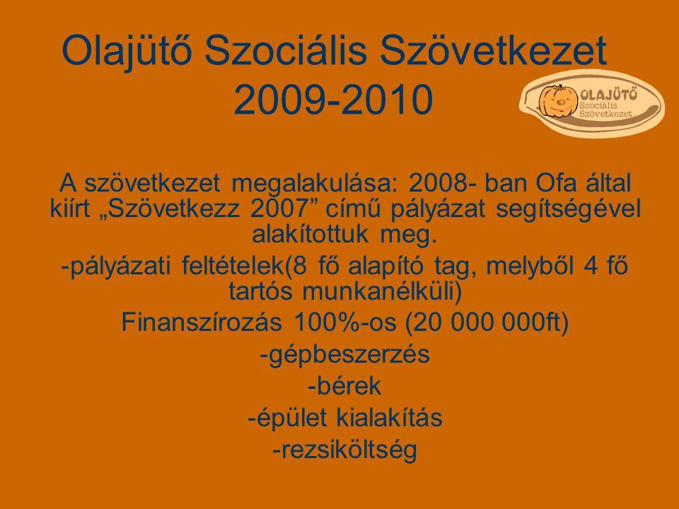 """Olajütő Szociális Szövetkezet 2009-2010 A szövetkezet megalakulása: 2008- ban Ofa által kiírt """"Szövetkezz 2007"""" című pályázat segítségével alakítottuk"""