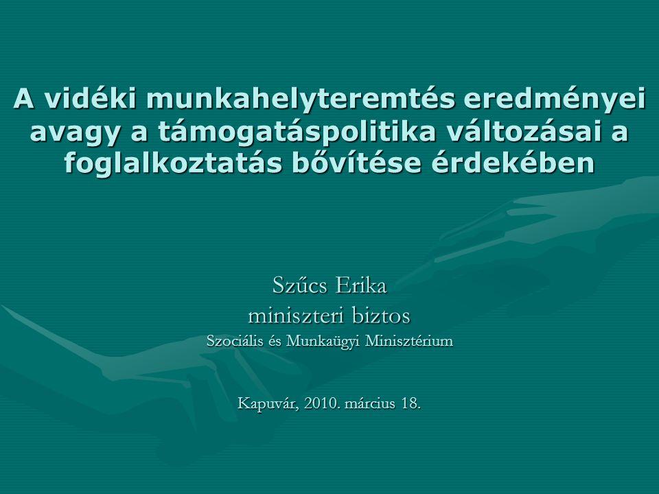 A vidéki munkahelyteremtés eredményei avagy a támogatáspolitika változásai a foglalkoztatás bővítése érdekében Szűcs Erika miniszteri biztos Szociális és Munkaügyi Minisztérium Kapuvár, 2010.