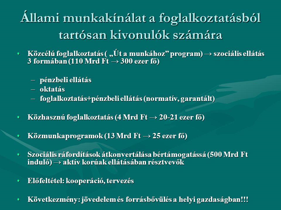 """Állami munkakínálat a foglalkoztatásból tartósan kivonulók számára Közcélú foglalkoztatás ( """"Út a munkához"""" program) → szociális ellátás 3 formában (1"""