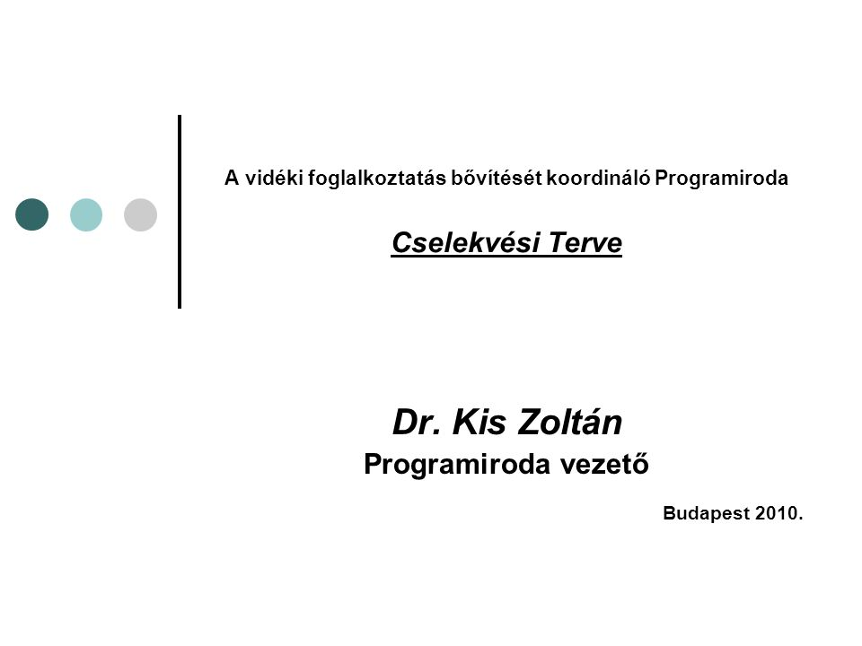 A vidéki foglalkoztatás bővítését koordináló Programiroda Cselekvési Terve Dr. Kis Zoltán Programiroda vezető Budapest 2010.