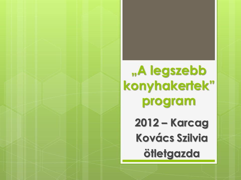 Eredmények  Püspökladány csatlakozása  Karcagon 22 fő jelentkezése  Balkon kategória - nem volt jelentkezés  Zártkerti jelentkezés  külön kategória  Gyommentes, szakszerűen gondozott  Hagyományos szép konyhakertek A legszebb konyhakertek - Kovács Szilvia - ötletgazda (Karcag)