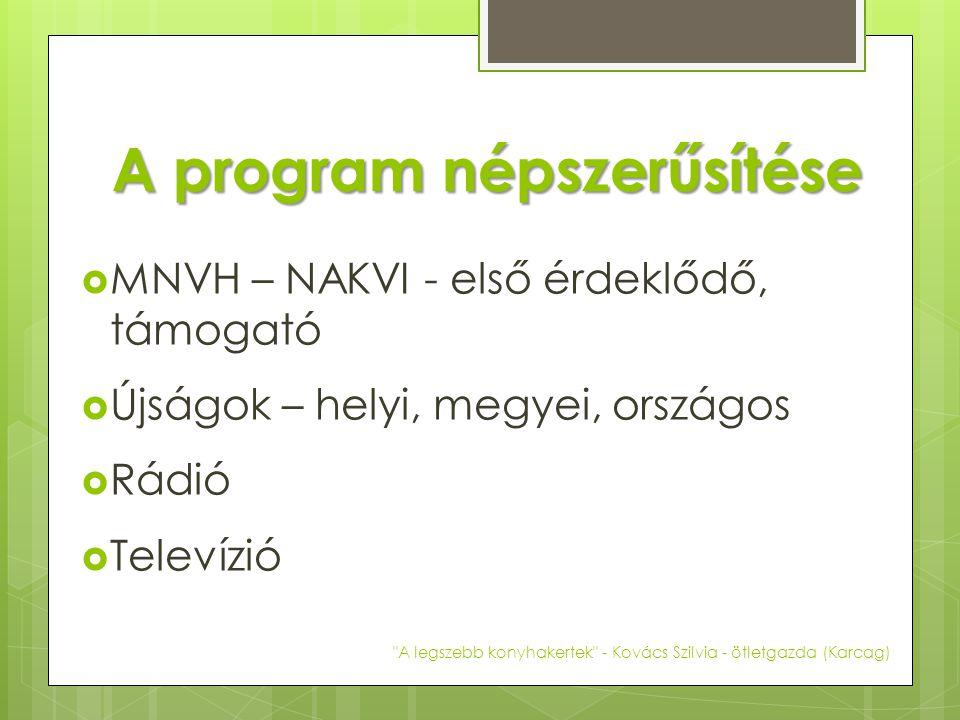 A program népszerűsítése  MNVH – NAKVI - első érdeklődő, támogató  Újságok – helyi, megyei, országos  Rádió  Televízió A legszebb konyhakertek - Kovács Szilvia - ötletgazda (Karcag)