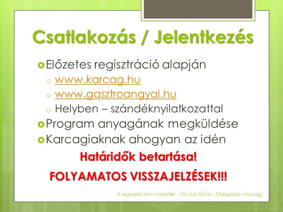 Csatlakozás / Jelentkezés  Előzetes regisztráció alapján o www.karcag.hu www.karcag.hu o www.gasztroangyal.hu www.gasztroangyal.hu o Helyben – szándéknyilatkozattal  Program anyagának megküldése  Karcagiaknak ahogyan az idén Határidők betartása.
