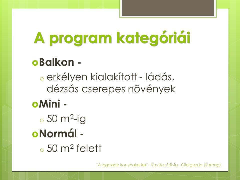 A program kategóriái  Balkon - o erkélyen kialakított - ládás, dézsás cserepes növények  Mini - o 50 m 2 -ig  Normál - o 50 m 2 felett A legszebb konyhakertek - Kovács Szilvia - ötletgazda (Karcag)