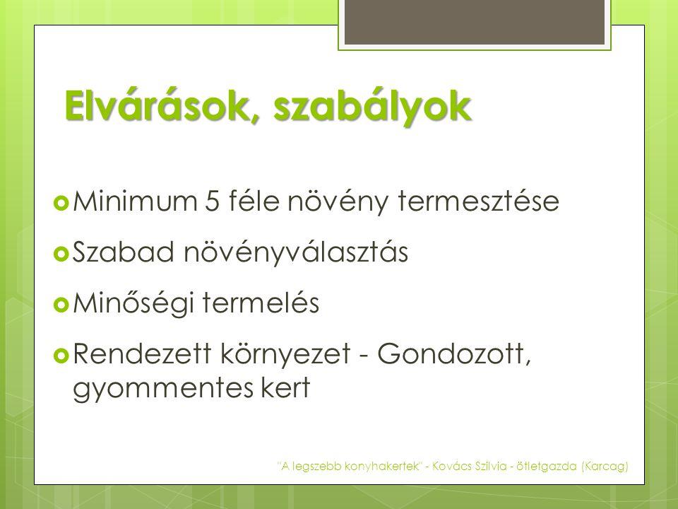Elvárások, szabályok  Minimum 5 féle növény termesztése  Szabad növényválasztás  Minőségi termelés  Rendezett környezet - Gondozott, gyommentes kert A legszebb konyhakertek - Kovács Szilvia - ötletgazda (Karcag)