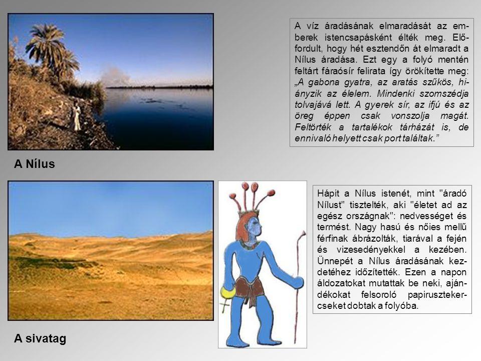 A Nílus A sivatag A víz áradásának elmaradását az em- berek istencsapásként élték meg. Elő- fordult, hogy hét esztendőn át elmaradt a Nílus áradása. E