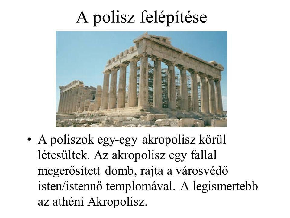 A polisz felépítése A poliszok egy-egy akropolisz körül létesültek. Az akropolisz egy fallal megerősített domb, rajta a városvédő isten/istennő templo