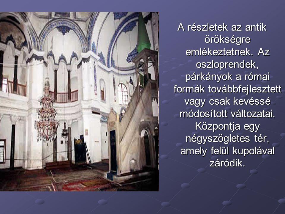 A négyszögű és a kör alapterületű formák közötti átmenet megoldása a bizánci építészek érdeme.
