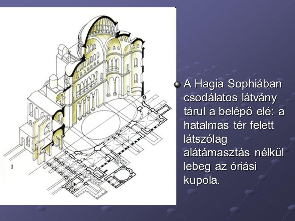 A Hagia Sophiában csodálatos látvány tárul a belépő elé: a hatalmas tér felett látszólag alátámasztás nélkül lebeg az óriási kupola.