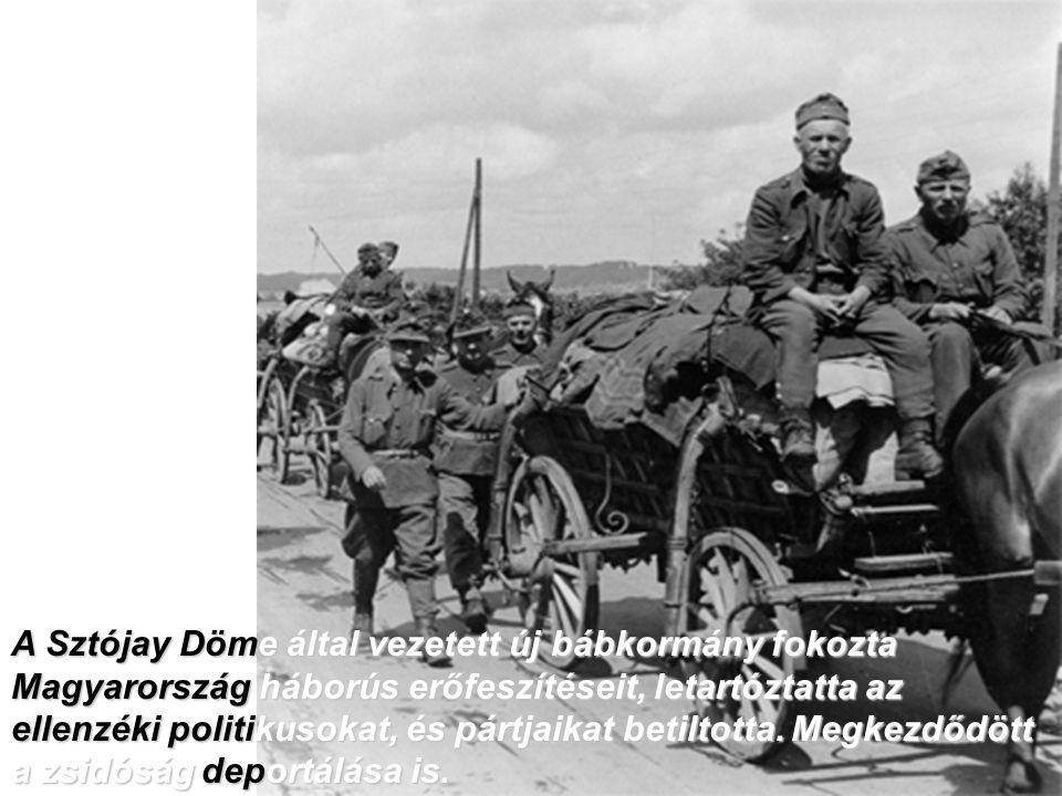 A Sztójay Döme által vezetett új bábkormány fokozta Magyarország háborús erőfeszítéseit, letartóztatta az ellenzéki politikusokat, és pártjaikat betil