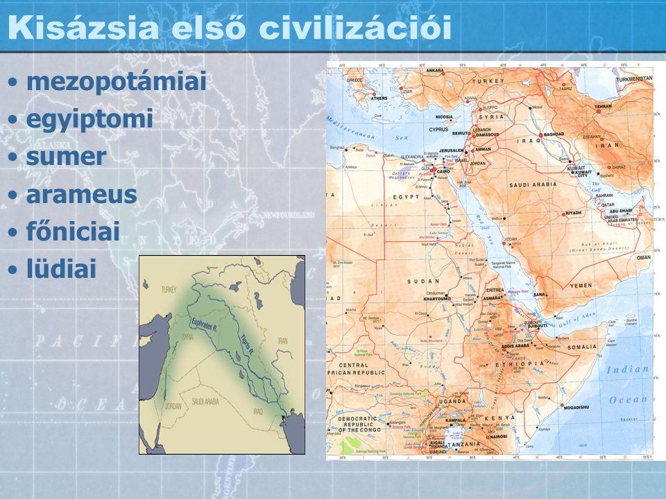 Kisázsia első civilizációi mezopotámiai egyiptomi sumer arameus főniciai lüdiai