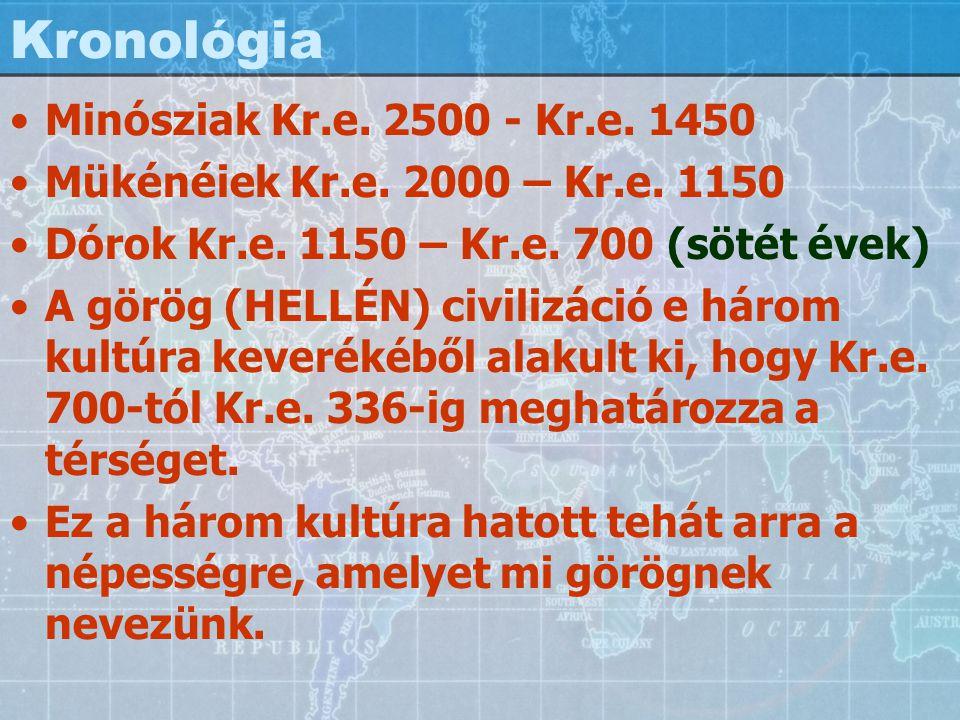 Kronológia Minósziak Kr.e. 2500 - Kr.e. 1450 Mükénéiek Kr.e. 2000 – Kr.e. 1150 Dórok Kr.e. 1150 – Kr.e. 700 (sötét évek) A görög (HELLÉN) civilizáció