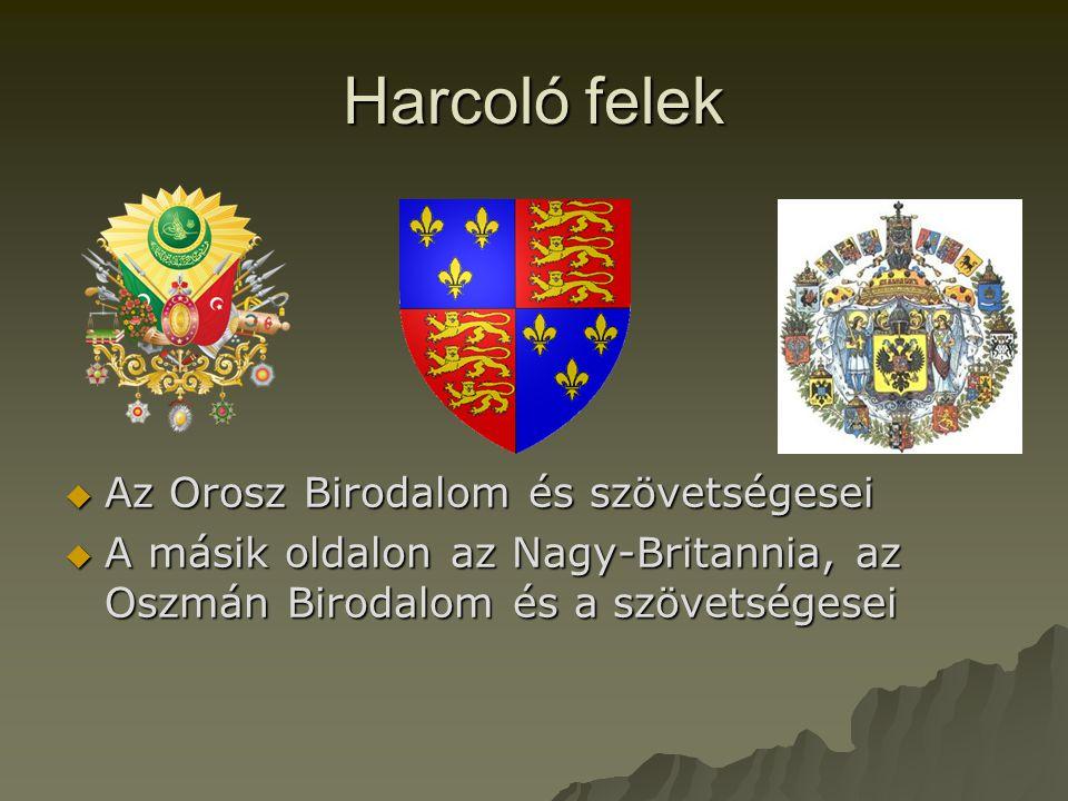 Harcoló felek  Az Orosz Birodalom és szövetségesei  A másik oldalon az Nagy-Britannia, az Oszmán Birodalom és a szövetségesei