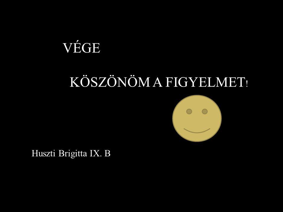 VÉGE KÖSZÖNÖM A FIGYELMET ! Huszti Brigitta IX. B