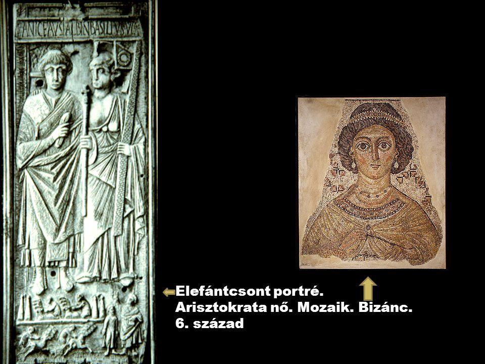Elefántcsont portré. Arisztokrata nő. Mozaik. Bizánc. 6. század