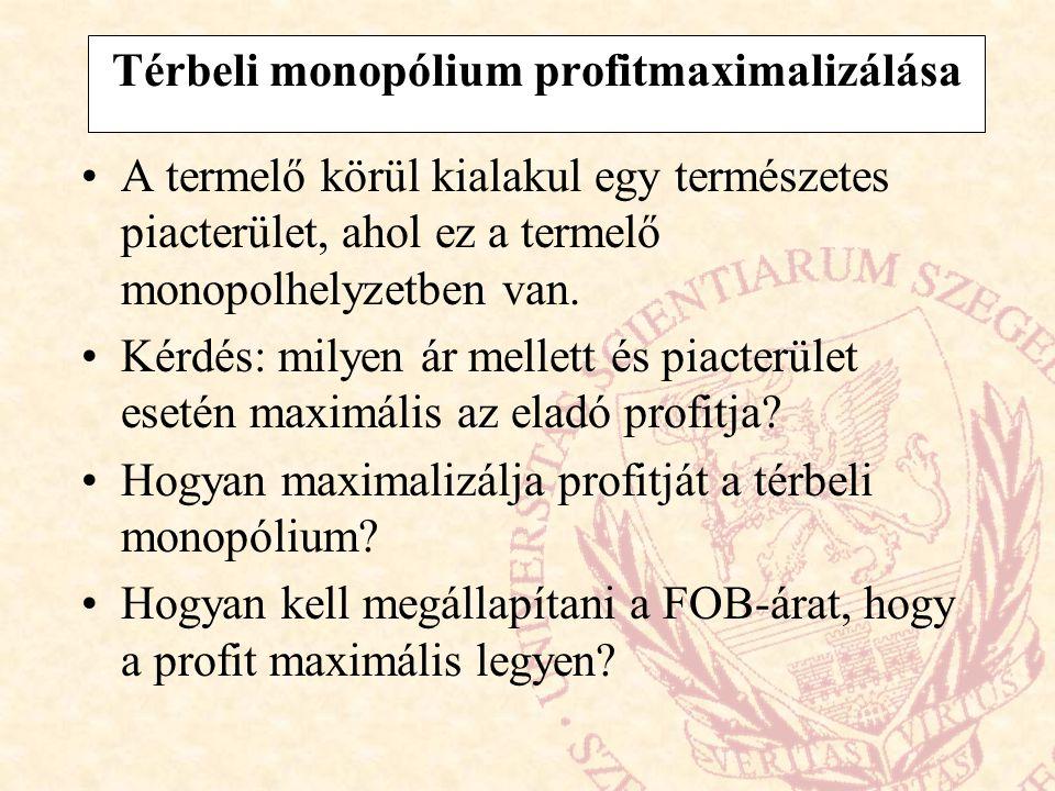 Térbeli monopólium profitmaximalizálása A termelő körül kialakul egy természetes piacterület, ahol ez a termelő monopolhelyzetben van.
