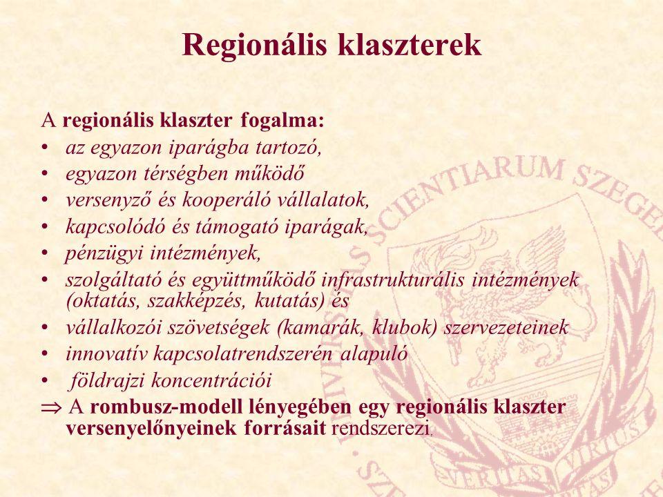 Regionális klaszterek A regionális klaszter fogalma: az egyazon iparágba tartozó, egyazon térségben működő versenyző és kooperáló vállalatok, kapcsolódó és támogató iparágak, pénzügyi intézmények, szolgáltató és együttműködő infrastrukturális intézmények (oktatás, szakképzés, kutatás) és vállalkozói szövetségek (kamarák, klubok) szervezeteinek innovatív kapcsolatrendszerén alapuló földrajzi koncentrációi  A rombusz-modell lényegében egy regionális klaszter versenyelőnyeinek forrásait rendszerezi,