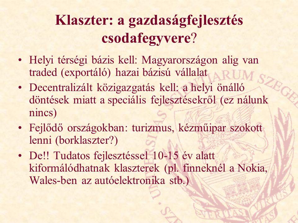 Klaszter: a gazdaságfejlesztés csodafegyvere? Helyi térségi bázis kell: Magyarországon alig van traded (exportáló) hazai bázisú vállalat Decentralizál