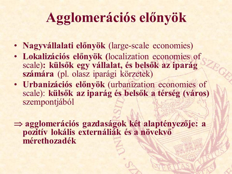 Agglomerációs előnyök Nagyvállalati előnyök (large-scale economies) Lokalizációs előnyök (localization economies of scale): külsők egy vállalat, és belsők az iparág számára (pl.