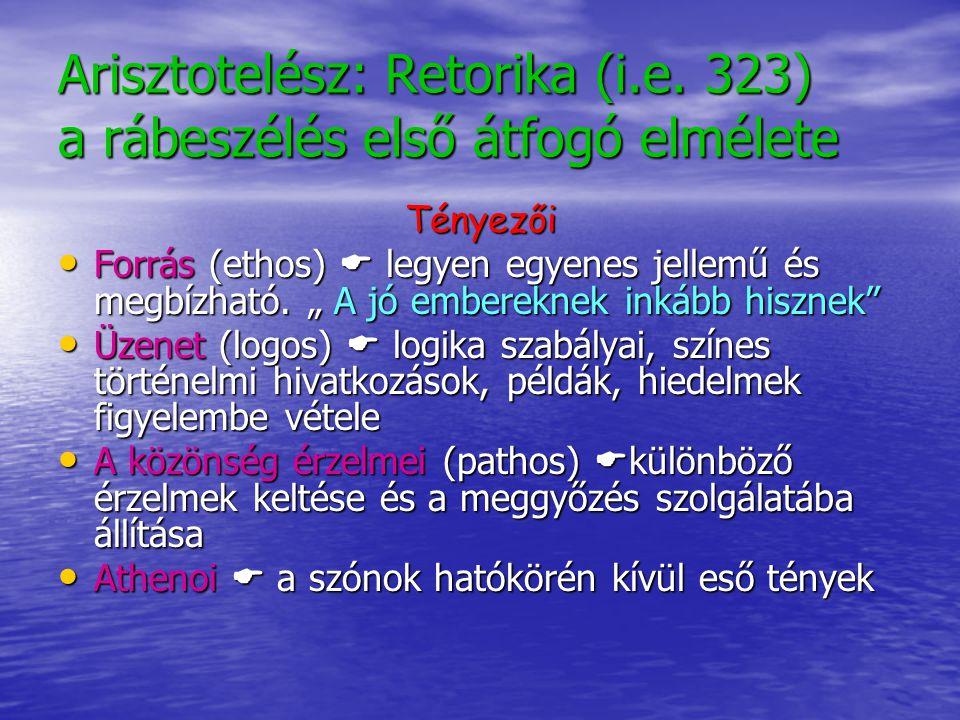 """Arisztotelész: Retorika (i.e. 323) a rábeszélés első átfogó elmélete Tényezői Forrás (ethos)  legyen egyenes jellemű és megbízható. """" A jó embereknek"""