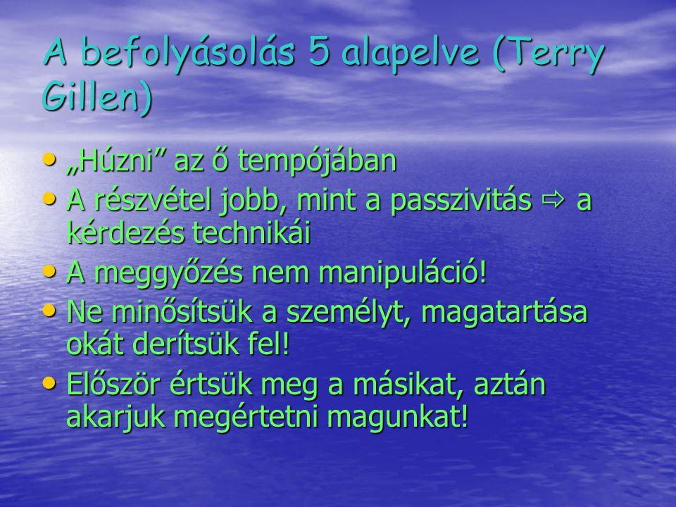 """A befolyásolás 5 alapelve (Terry Gillen) """"Húzni"""" az ő tempójában """"Húzni"""" az ő tempójában A részvétel jobb, mint a passzivitás  a kérdezés technikái A"""