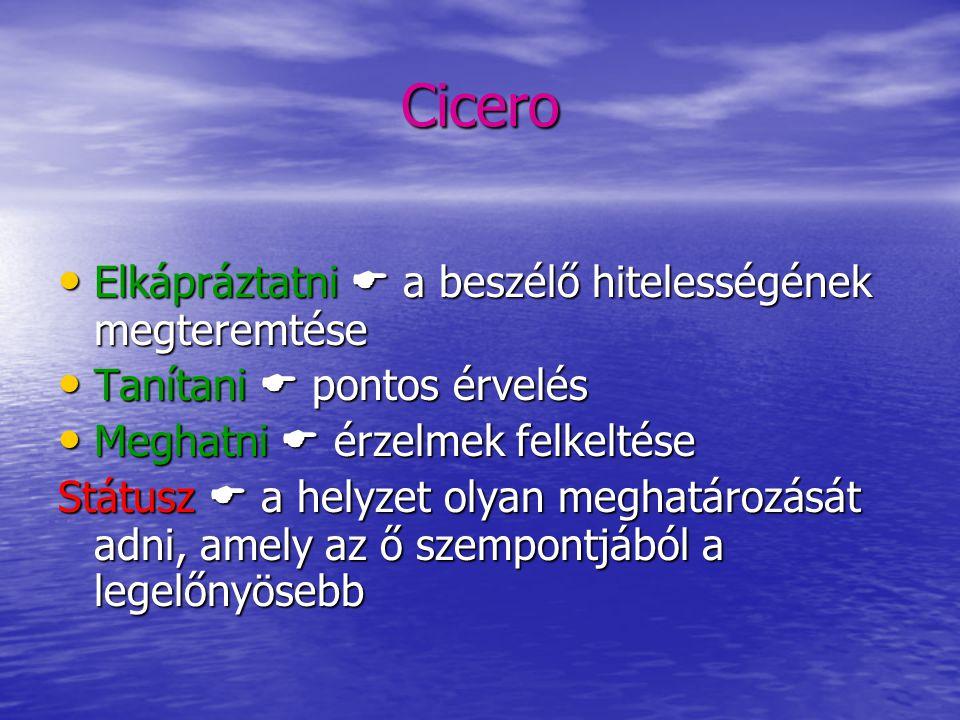 Cicero Elkápráztatni  a beszélő hitelességének megteremtése Elkápráztatni  a beszélő hitelességének megteremtése Tanítani  pontos érvelés Tanítani