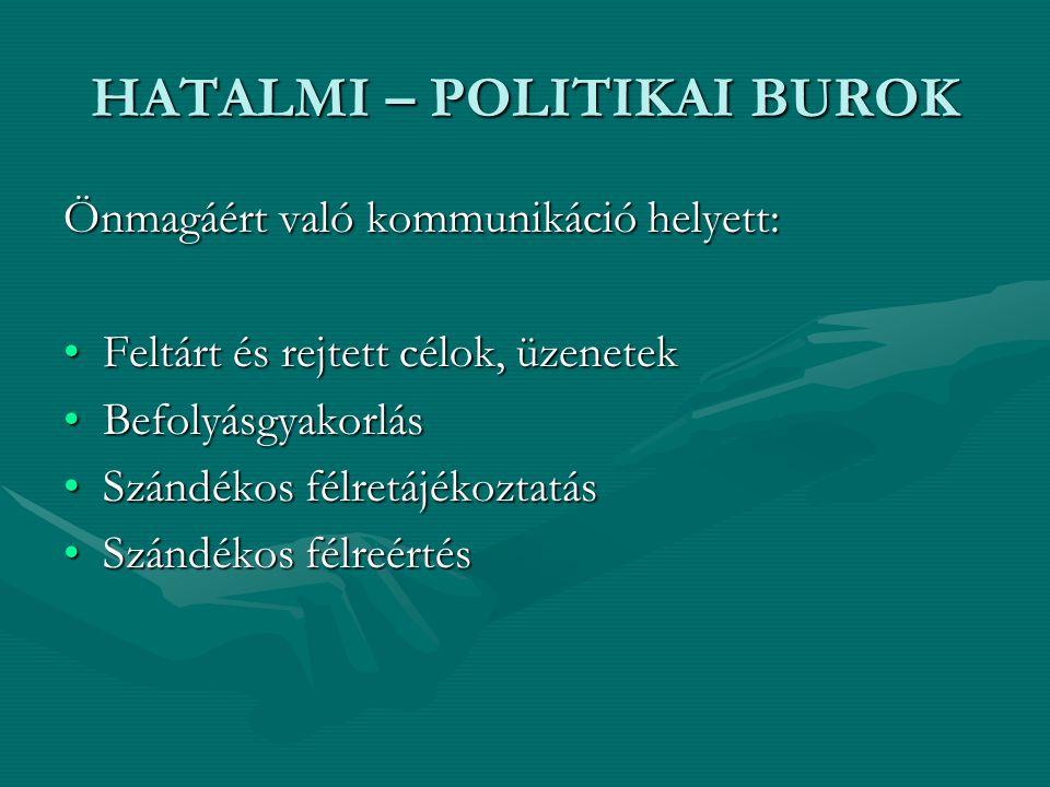 HATALMI – POLITIKAI BUROK Önmagáért való kommunikáció helyett: Feltárt és rejtett célok, üzenetekFeltárt és rejtett célok, üzenetek BefolyásgyakorlásB