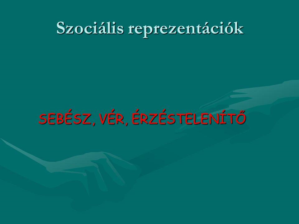 Szociális reprezentációk SEBÉSZ, VÉR, ÉRZÉSTELENÍTŐ SEBÉSZ, VÉR, ÉRZÉSTELENÍTŐ