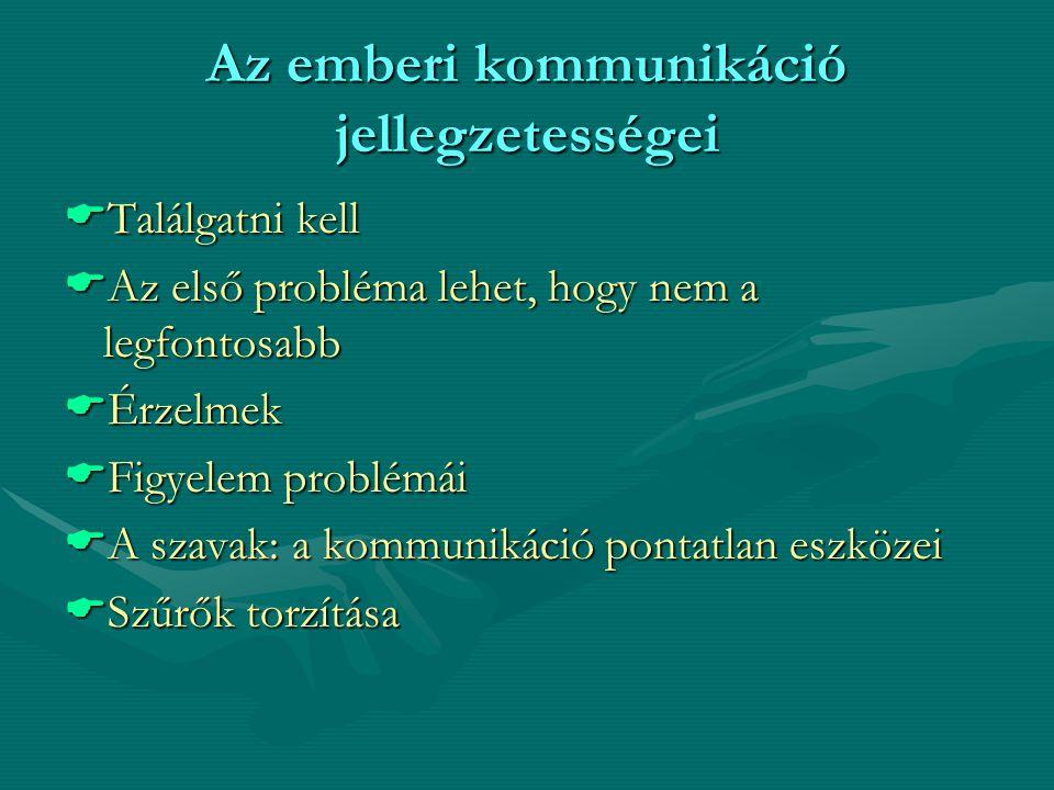 Az emberi kommunikáció jellegzetességei  Találgatni kell  Az első probléma lehet, hogy nem a legfontosabb  Érzelmek  Figyelem problémái  A szavak