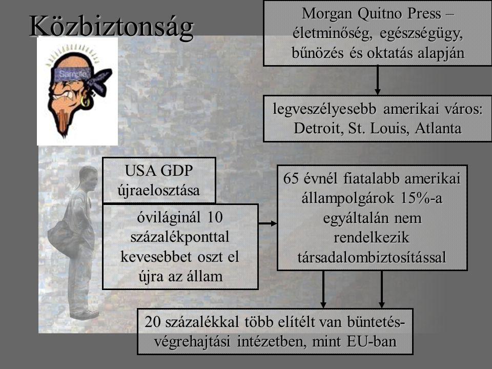 Közbiztonság Morgan Quitno Press – életminőség, egészségügy, bűnözés és oktatás alapján legveszélyesebb amerikai város: Detroit, St.