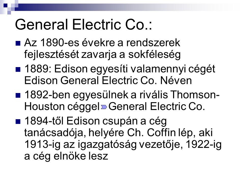 General Electric Co.: Az 1890-es évekre a rendszerek fejlesztését zavarja a sokféleség 1889: Edison egyesíti valamennyi cégét Edison General Electric Co.