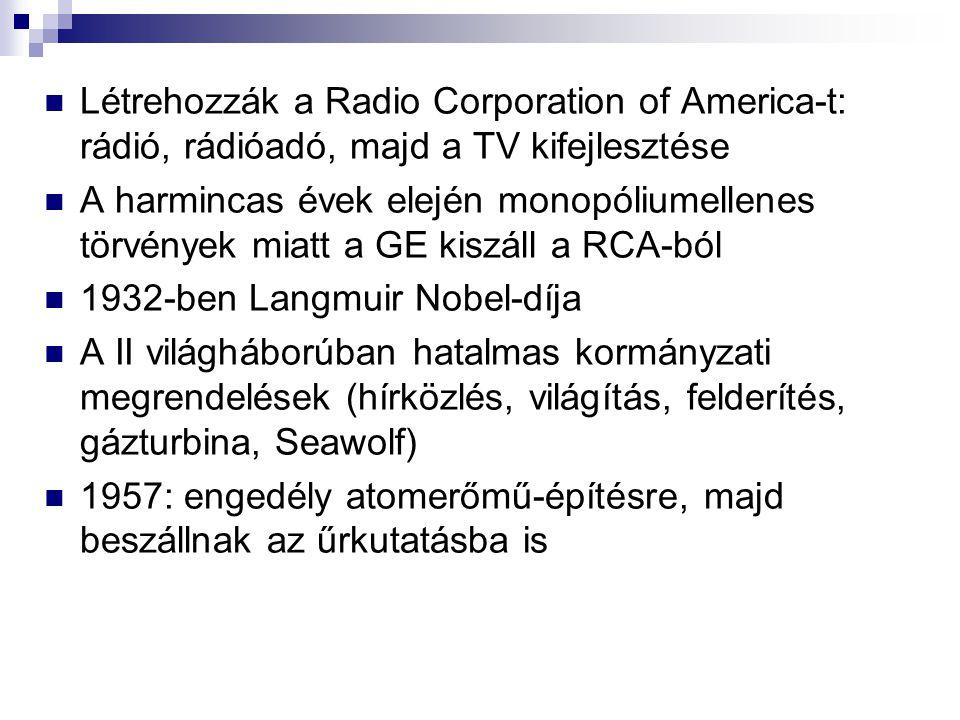 Létrehozzák a Radio Corporation of America-t: rádió, rádióadó, majd a TV kifejlesztése A harmincas évek elején monopóliumellenes törvények miatt a GE kiszáll a RCA-ból 1932-ben Langmuir Nobel-díja A II világháborúban hatalmas kormányzati megrendelések (hírközlés, világítás, felderítés, gázturbina, Seawolf) 1957: engedély atomerőmű-építésre, majd beszállnak az űrkutatásba is