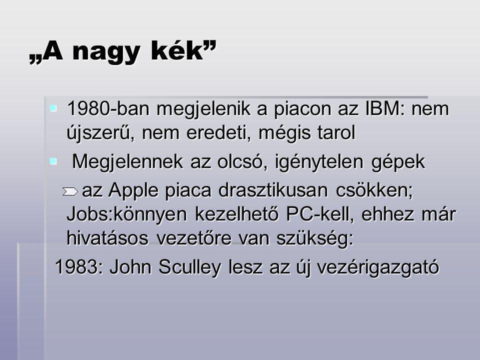 """""""A nagy kék  1980-ban megjelenik a piacon az IBM: nem újszerű, nem eredeti, mégis tarol  Megjelennek az olcsó, igénytelen gépek az Apple piaca drasztikusan csökken; Jobs:könnyen kezelhető PC-kell, ehhez már hivatásos vezetőre van szükség: az Apple piaca drasztikusan csökken; Jobs:könnyen kezelhető PC-kell, ehhez már hivatásos vezetőre van szükség: 1983: John Sculley lesz az új vezérigazgató 1983: John Sculley lesz az új vezérigazgató"""