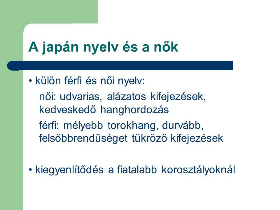 A japán nyelv és a nők külön férfi és női nyelv: női: udvarias, alázatos kifejezések, kedveskedő hanghordozás férfi: mélyebb torokhang, durvább, felső