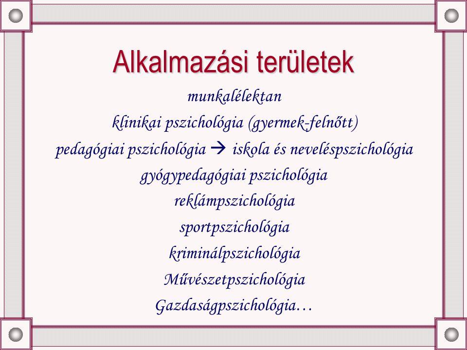 Alkalmazási területek munkalélektan klinikai pszichológia (gyermek-felnőtt) pedagógiai pszichológia  iskola és neveléspszichológia gyógypedagógiai pszichológia reklámpszichológia sportpszichológia kriminálpszichológia Művészetpszichológia Gazdaságpszichológia…