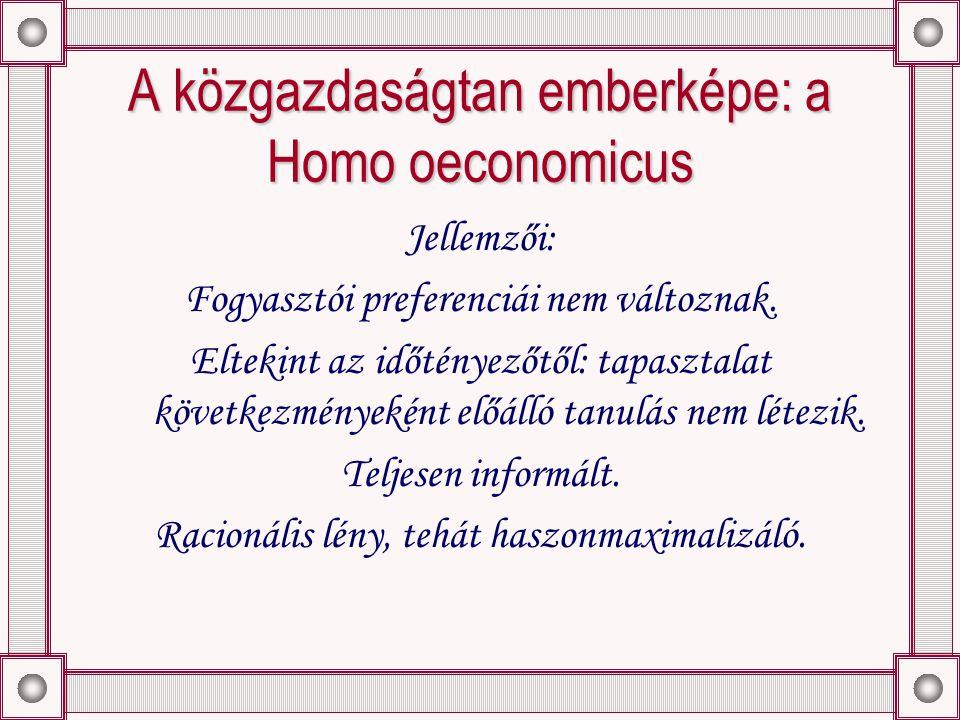 A közgazdaságtan emberképe: a Homo oeconomicus Jellemzői: Fogyasztói preferenciái nem változnak.