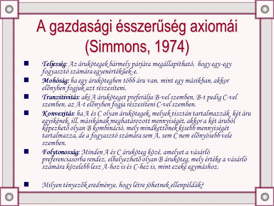 A gazdasági ésszerűség axiomái (Simmons, 1974) Teljesség: Az árukötegek bármely párjára megállapítható, hogy egy-egy fogyasztó számára egyenértékűek-e.