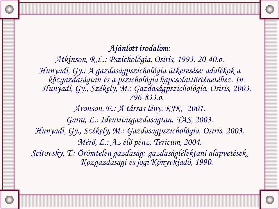Ajánlott irodalom: Atkinson, R.L.: Pszichológia. Osiris, 1993.